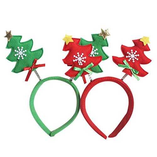 Beaupretty bandeaux de noël cheveux de sapin de Noël décoratifs mignons cheveux cerceaux santa arbre coiffe pour enfants enfants filles 2pcs