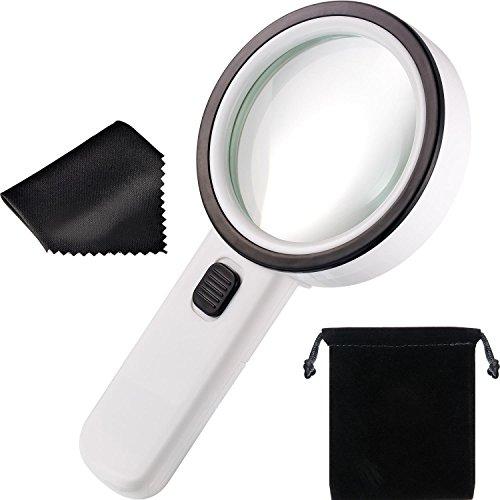 30X LED Handlupe mit 12 LED Leuchten, Beleuchtete Lupe Gläser Doppel Glas Objektiv zum Lesen, Inspektion, Exploring, Schmuck und Hobbys