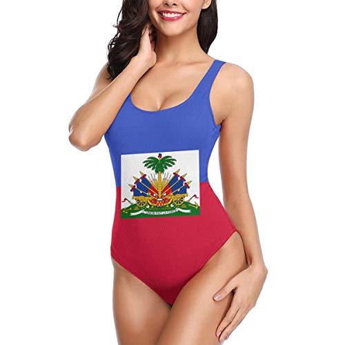 LTtie Women's One Piece Swimsuit Haitian Flag Athletic Training Beach Swimsuit for Women White