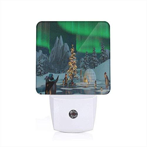 Noot-mixer noorden licht pinguïns op bevroren zee met kerstboom Noel Arctic Circle Design vol lindegroen-grijze slaapkamer passende nachtlampjes US_White