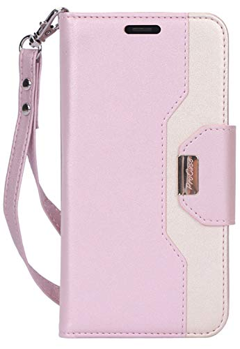 """Procase iPhone 11 Wallet Case for Women, Flip Folio Kickstand PU Leather Case with Card Holder Wristlet Hand Strap, Stand Protective Cover for iPhone 11 6.1"""" 2019 Release -Pink"""