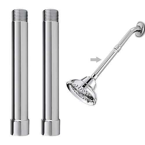 2 Pack 6 Inch Shower Head Extension Arm, Shower Arm Extension, Shower Head Extender, Shower Head Extender Water Outlet Lower Existing Shower Head, All Solid Brass Construction-Chrome Finish