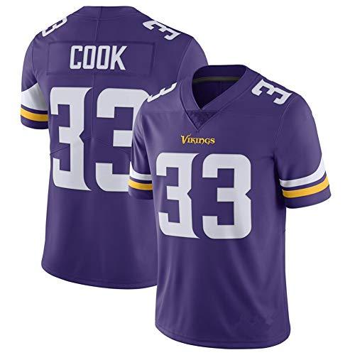 #33 Minnesota Vikings Dalvin Cook American Football Trikot, Rugby Uniform, atmungsaktives Sweatshirt, Fitness bestes Geschenk Sport V-Ausschnitt T-Shirt M violett