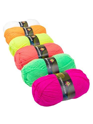 PSYWORK - Ovillo de lana (6 unidades, 50 g), color neón