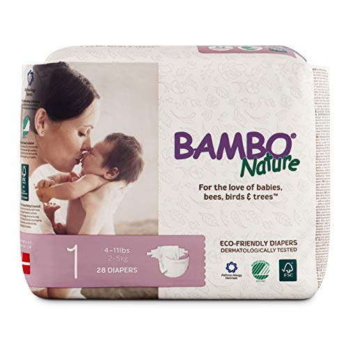 Bambo Nature Eco Friendly Premium Nappies for Sensitive Skin, Size 1 (4-11 lbs / 2-5 kg) Pack of 28
