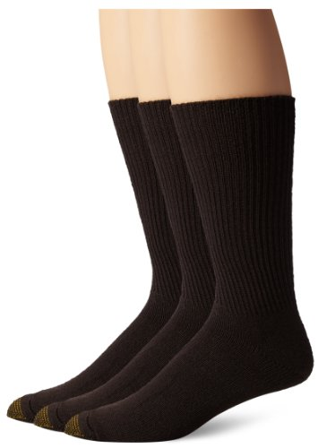 Gold Toe Men's Fluffies Crew Socks, 3 Pairs, Brown, Shoe Size: 6-12.5