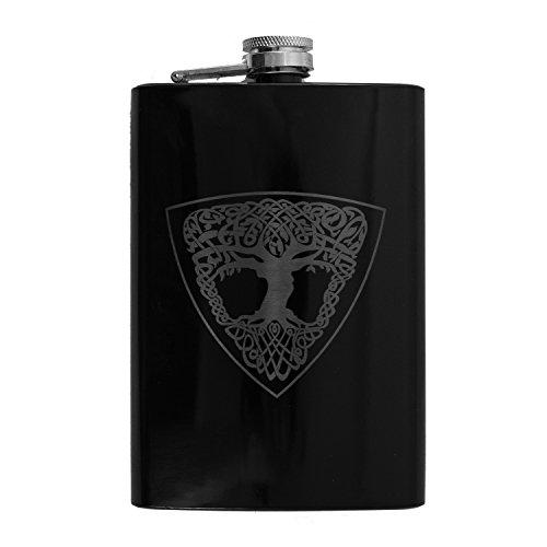 8oz Celtic Tree of Life Black Flask L1