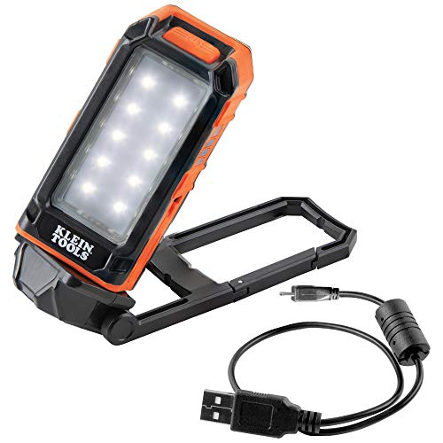 Klein Tools 56403 LED Light, Rechargeable Flashlight/Worklight with Built-In Kickstand and Carabiner Also Charges Small Electronic Devices