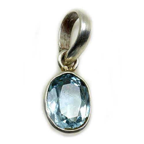 Colgante de topacio azul natural de plata 925 con piedras preciosas de 5 quilates, piedra natal de diciembre, astrológica