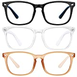 Blue Light Blocking Glasses - 3Pack Computer Game Glasses Square Eyeglasses Frame, Blue Light Blocker Glasses for Women Men, Anti Eye Eyestrain Reading Gaming Glasses Non Prescription
