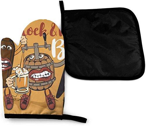 N\A Banner de Pub Rock Roll con Botella de Cerveza y manopla para Horno de Barril y Soporte para ollas, manopla de Cocina Resistente al Calor para Hornear Barbacoa