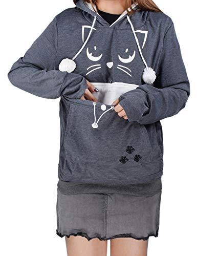 besbomig Unisex Kapuzenpullover mit Katzen Hund Großen Tasche - Mode Sweatshirt Kapuze Taschenbeutel Hoodie Hundetasche Haustier Halter Lange Ärmel Lose Pullover Top Bluse