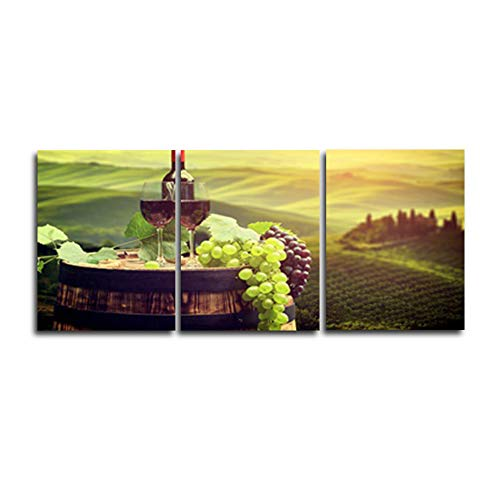 N / A 3 Panel Wine Cellar Vintage Painting Canvas Picture Home Decoration Living Room Canvas Print Painting Canvas Frameless 100cmx105cm