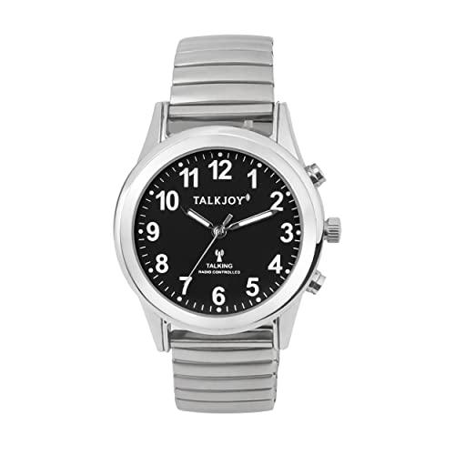 Reloj controlado por radio, para mujer, reloj de pulsera parlante de plata, esfera negra, correa de metal