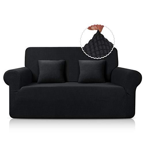 TAOCOCO Funda de Sofá/Funda de sofá Antideslizante/Funda de Fofá Elástica/Lavable/Antiácaros/Antiarrugas (Negro,120_x_190_cm)