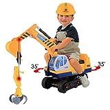 Hikole Escavatore Giocattolo 2x1 Cavalcabile per Bambini (Benna e Gancio) Adatto per Giocare a Sabbia a casa e in Spiaggia