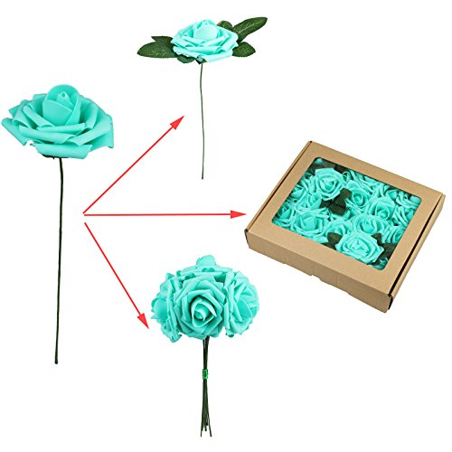 Fivejorya 50pcs Teal Blue Artificial Roses Flowers With Stems Real Looking Fake Roses for DIY Wedding Bouquets Centerpieces Arrangements Birthday Home Party Decor Favor
