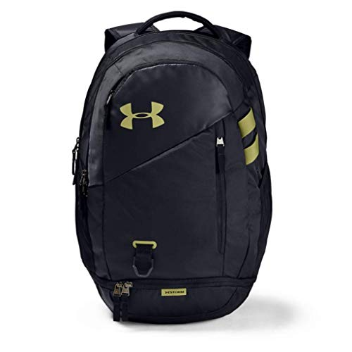 Under Armour Hustle 4.0 Water Resistant Sports Backpack with 26L Volume, Gym Bag with Practical Compartments - Black/ Hushed Green/ Black (005), OSFA