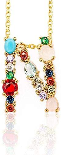 Yiffshunl Collar de Moda N - Mujeres exquisitas DIY Letra Inicial Alfabeto Collar Colgante con Nombre Accesorios de joyería creativos Regalo para Novia