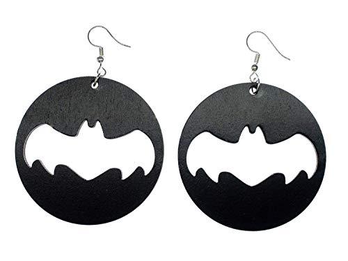 Miniblings Pendientes de madera de murciélago círculo negro superhéroe cómic Halloween Mardi Gras Vampiro zorro volador colgante pendiente plateado