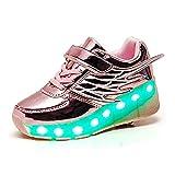 Aupast Cambio de Zapatos de patín de Ruedas con Tira de LED con alas de ángel Batería Patineta técnica Zapatillas Deportivas al Aire Libre Zapatillas de Gimnasia - 7 Colores