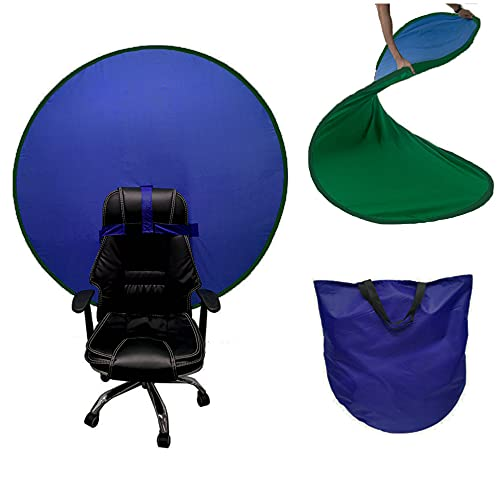 Green Screen Chair Background Double-Sided 142cm 4.65ft Backdrop Cloths Green and Blue for Portrait Photos, Live Streaming, Game Live, Video conferencing