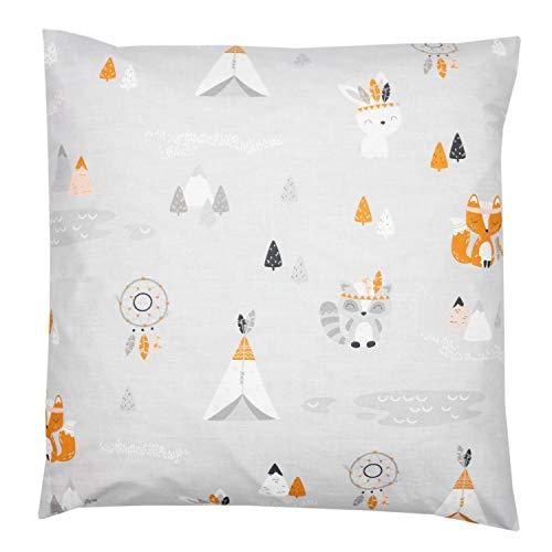TupTam Kinder Kissenbezug Dekorativ Gemustert, Farbe: Füchse Grau, Größe: 50 x 50 cm