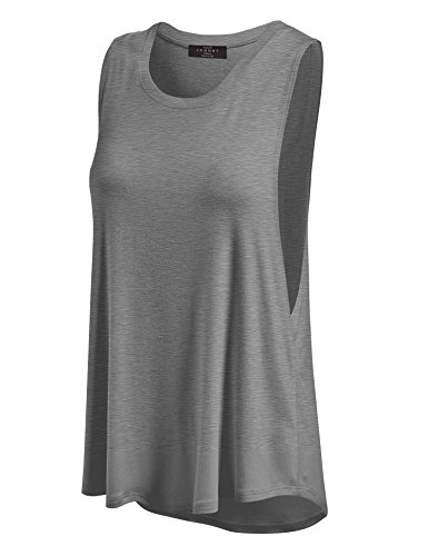 Made By Johnny WT902 Womens Basic Loose Fit Tank Top S Heather_Dark_Grey