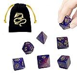 JOSE9A Dadi D&D Dadi da Gioco, per Rpg Dungeons And Dragons Gioco di Ruolo Gioco da Tavolo Pathfinder, 42 Pezzi Dadi Poliedrici Doppio-Colore (Viola Intenso - 6 Pezzi)