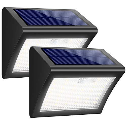 iposible Solarleuchte für Außen, [2 Stück] 38 LED Solarlampen mit Bewegungsmelder Wasserdichte Solar Beleuchtung LED Solarbetriebene Lichter mit 3 Modi Solarlicht Superhelles für Licht für Garten