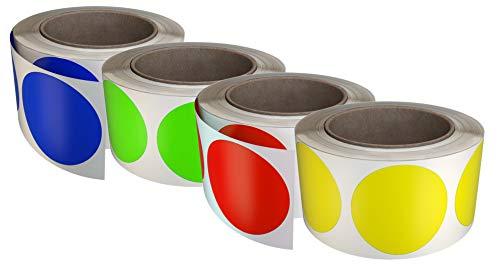Confezione da 600 Pezzi Royal Green Rotolo di Adesivi Rotondi da 50mm Colore Giallo Fluorescente