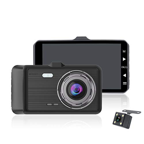MChoice4in 1080P Dual Lens Car Dashboard DVR Video Recorder Dash Cam + Rearview Camera Black