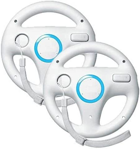 Beastron Mario Kart Racing Wheel Compatible with Nintendo Wii, 2 Sets White Color Bundle