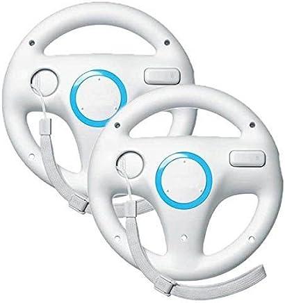 Beastron Mario Kart Racing Wheel for Nintendo Wii, 2 Sets White Color Bundle