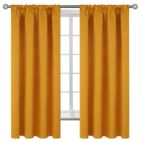 BGment Rod Pocket Blackout Curtains for Bedroom - Thermal Insulated Room Darkening Curtain for Living Room , 42 x 63 Inch, 2 Panels, Mustard
