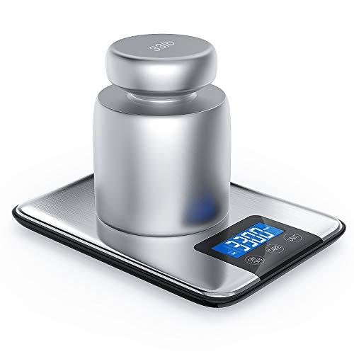 NBPOWER Digitale Küchenwaage,15kg/33lb Küchenwaage Digital Elektronische Waage Essenswaage mit Großer Edelstahl Wiegefläche,hohe Präzision auf bis zu 2g, Tara-Funktion