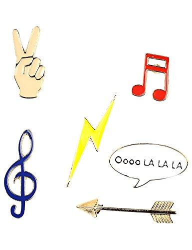 Brosche/Anstecker/Pins aus Metall - 6 Stück Set Musik - Musiknote, Pfeil, Blitz, Hand