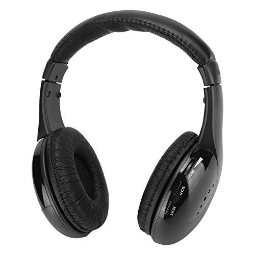 Auriculares inalámbricos, 5 en 1 Auriculares inalámbricos con soporte de carga para TV DVD VCD MP3, FM Auriculares inalámbricos Micrófono incorporado Auriculares Auriculares con Net Chat y Monitoreo