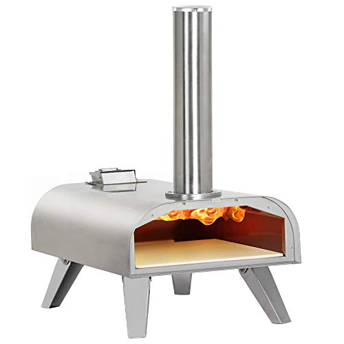 BIG HORN OUTDOORS Pizza Oven Wood Pellet Pizza Oven Wood Fired Pizza Maker Portable Stainless Steel Pizza Grill