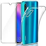 Leathlux Coque Huawei P30 Transparente + Verre trempé Protection écran, Souple Silicone étui Protecteur Bumper Housse Clair Doux TPU Gel Case Cover Coque pour Huawei P30