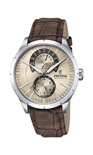 Festina Herren Analog Quarz Uhr mit Leder Armband F16573/9