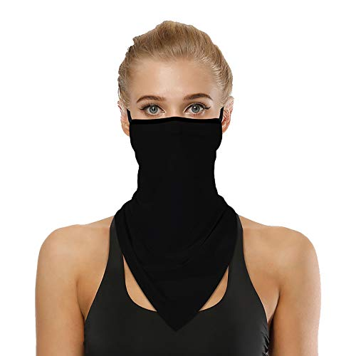 Face Bandana Neck Gaiter with Ear Loops,UV Sun Protection Triangle Mask Scarf Balaclava Black