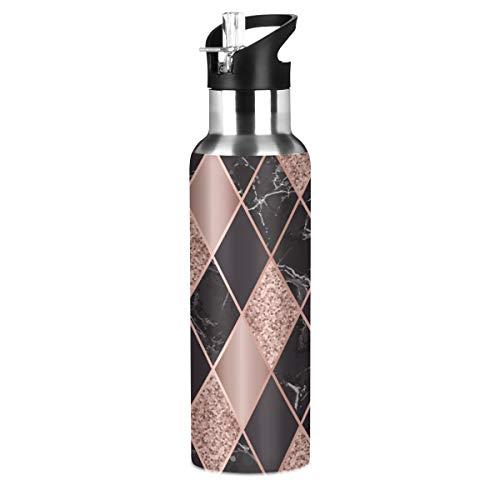 Botella de agua de acero inoxidable, botella de agua con aislamiento al vacío de mármol geométrico prismático con mango ancho