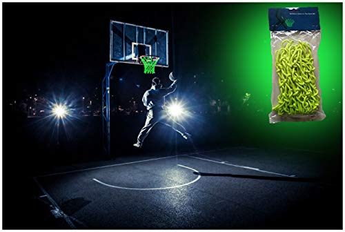 MCNICK & COMPANY Glow in The Dark Outdoor Basketball Net Rim Hoop Heavy Duty
