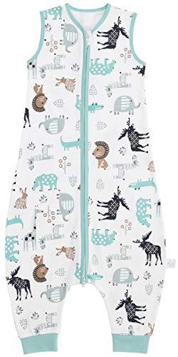 Chilsuessy Baby Schlafsack Sommer mit Füßen 0.5 Tog 100% Baumwolle Kinder Sommerschlafsack für Jungen und Mädchen, Tierwelt, 110cm /Baby Höhe 120-130cm