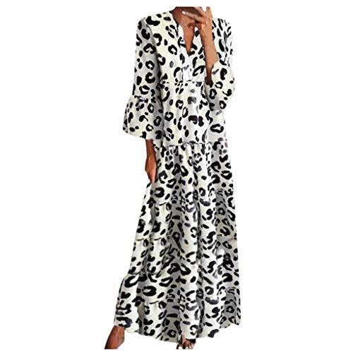 Xmiral Kleid Damen Sommer 3/4 Ärmel Rüschen V-Ausschnitt Frau Loses Kleid Leopardenmuster Maxikleid(Weiß,S)