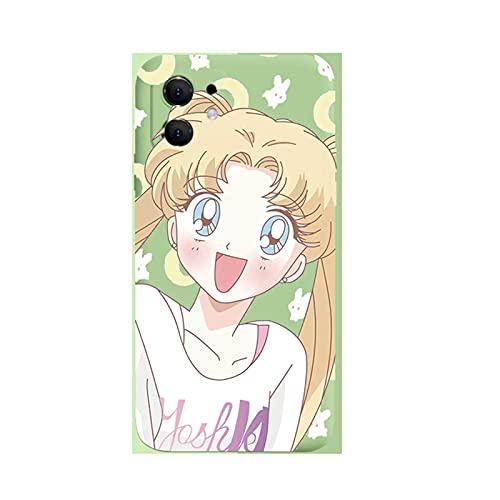 ZMMZ Sailor Moon Anime Series - Funda para iPhone 6 7 8P XR, gel de sílice líquido para mujer, antihuellas, protección completa del cuerpo, verde E-7