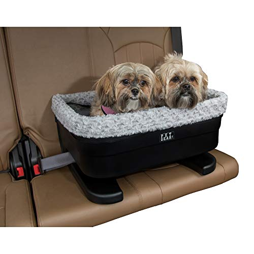 Pet Gear Booster Seat for Dogs/Cats, Removable Washable Comfort Pillow + Liner, Safety Tethers Included, Installs in Seconds, No Tools Required, Black/Fog, 20'