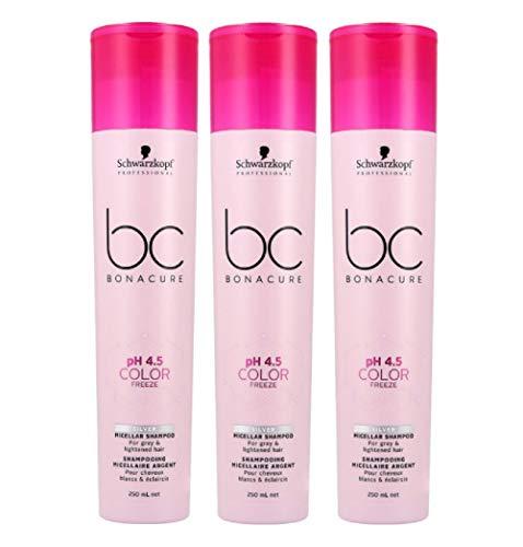 3er pH 4.5 Color Freeze Silver Micellar Shampoo Bonacure Schwarzkopf Professional für graues und helles Haar 250 ml