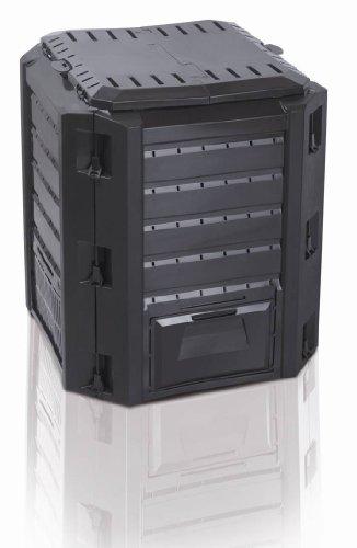 """Komposter """"Compogreen"""" mit 380 Liter Fassungsvermögen und zwei Öffnungen zum Füllen und Entnehmen - Farbe: Schwarz"""